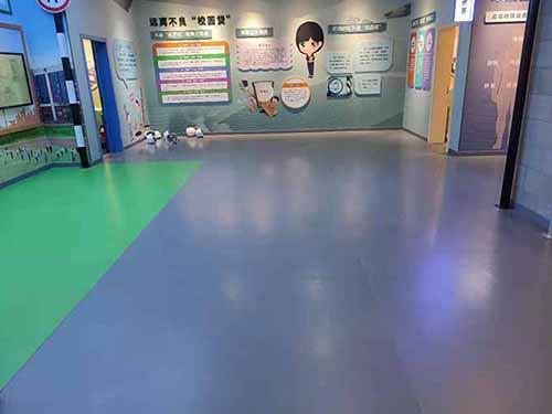 潼南区法制教育展厅纯灰色PVC地胶